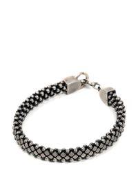 Laura B Metallic Silver Pleated Brass & Leather Bracelet