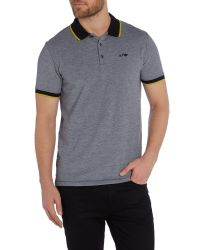 Armani Jeans | Black Regular Fit Tipped Oxford Polo Shirt for Men | Lyst