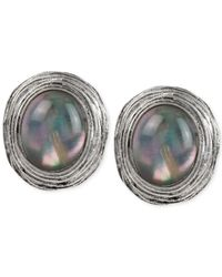 Robert Lee Morris | Gray Silver-Tone Oval Cabochon Stud Earrings | Lyst