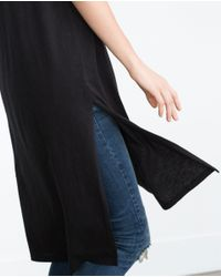 Zara | Black Pleated Top | Lyst