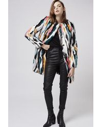 TOPSHOP Multicolor Multi-coloured Faux Fur Coat