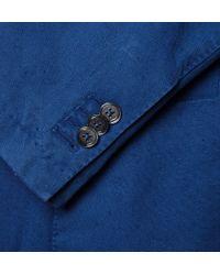 Incotex Blue Slim-Fit Garment-Dyed Cotton Blazer for men