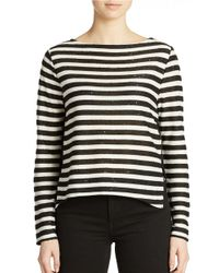 French Connection | Black Sequin Stripe Top | Lyst