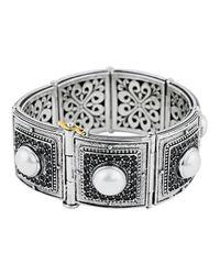 Konstantino - White Pave Spinel & Pearl Bracelet - Lyst