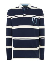 Howick | Blue Tilston Stripe Long Sleeve Rugby Top for Men | Lyst