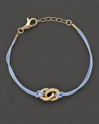 Faraone Mennella | Nodi 18k Yellow Gold and Blue Leather Small Bracelet | Lyst