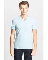 Armani | Blue V-neck T-shirt for Men | Lyst