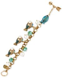 Betsey Johnson | Multicolor Gold-Tone Faux Pearl Fish Charm Bracelet | Lyst