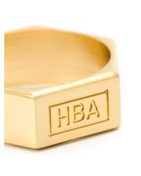 Hood By Air | Yellow Embossed Logo Ring for Men | Lyst