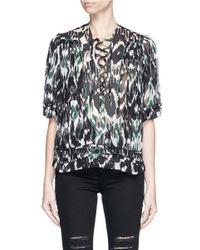 Isabel Marant Black 'paden' Lace-up Patchwork Print Silk Georgette Top