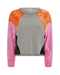 Pinko | Gray Colour Block Sequin Sweater | Lyst
