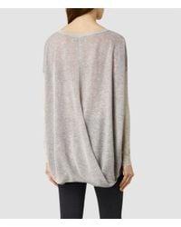 AllSaints - Gray Flore Sweater - Lyst