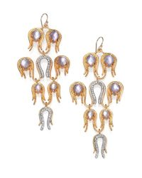 Alexis Bittar | Metallic Aigrette Mother of Pearl Doublet Crystal Chandelier Earrings | Lyst