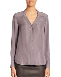 VINCE | Gray Silk Crocodile-print Blouse | Lyst