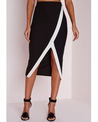 Missguided | Contrast Stripe Extreme Asymmetric Midi Skirt Black | Lyst
