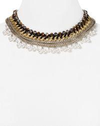 "Aqua Metallic Ivy Multi-chain Collar Necklace, 16"""