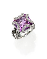John Hardy Purple Classic Chain Amethyst, Diamond & Sterling Silver Medium Braided Ring