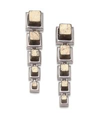 Eddie Borgo | Metallic Pyrite Graduated Cube Linear Earrings | Lyst
