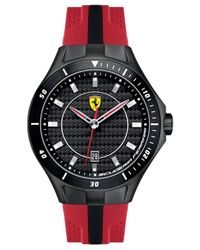 Scuderia Ferrari - Men's Race Day Black And Red Perforated Silicone Strap Watch 44mm 830080 for Men - Lyst