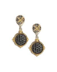 Konstantino - Silver & 18k Black Diamond Drop Earrings - Lyst