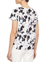 Carolina Herrera - Multicolor Pansy-print Poplin Top - Lyst