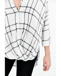 BDG - White Structured Surplice-front Button-down Shirt - Lyst