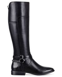 Marc Fisher Black Alexis Wide Calf Tall Riding Boots