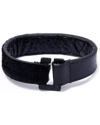 George Frost - Black Equus Leather And Calf-hair Bracelet - Lyst