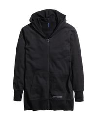 H&M - Black Long Hooded Jacket for Men - Lyst