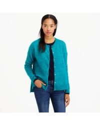 J.Crew Blue Marled Mohair Cardigan Sweater