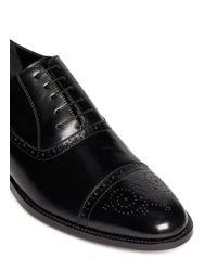 Artigiano - Black Perforated Toe Cap Leather Oxfords for Men - Lyst