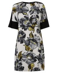 Warehouse Multicolor Graphic Floral Shift Dress