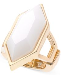 T Tahari | Gold-tone White Hexagonal Stone Stretch Ring | Lyst