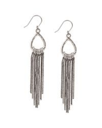Lucky Brand Metallic Silvertone Ring And Tassel Drop Earrings