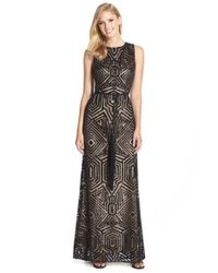 Vince Camuto - Black Sequin Mesh Gown - Lyst
