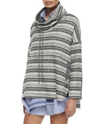 Thakoon Addition Black Funnel-neck Tweed Pullover Top