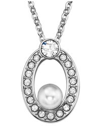 Swarovski | Metallic Rhodium-Plated Crystal Pearl Open Circle Pendant Necklace | Lyst