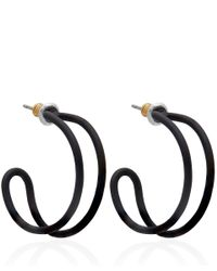 Marc By Marc Jacobs | Black Rubberized Orbit Hoop Earrings | Lyst