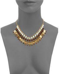 Lauren by Ralph Lauren | Metallic Mother-Of-Pearl And Tigers Eye Beaded Bib Necklace | Lyst