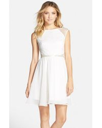 Aidan By Aidan Mattox - White Lace Top Fit & Flare Dress - Lyst
