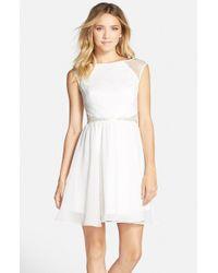 Aidan By Aidan Mattox | White Lace Top Fit & Flare Dress | Lyst