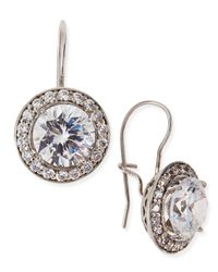 Fantasia by Deserio - White Antique-Inspired Round Cubic Zirconia Earrings - Lyst
