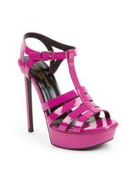 Saint Laurent   Pink Bianca Patent Leather Platform Sandals   Lyst