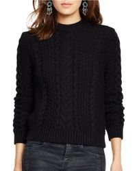 Polo Ralph Lauren | Black Cabled Turtleneck Sweater | Lyst