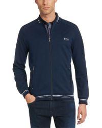BOSS Blue 'college Jacket Zip' | Cotton Blend Knit Track Jacket for men