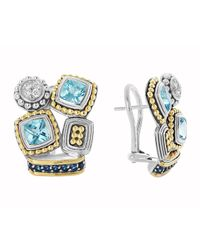 Lagos - Metallic Montage Blue Stone  Diamond Stud Earrings - Lyst