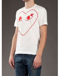 Play Comme des Garçons | White Heart Logo T-shirt for Men | Lyst