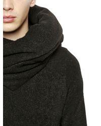 Julius - Black Hooded Brushed Wool Blend Sweatshirt for Men - Lyst