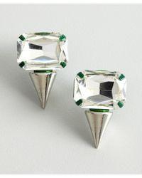 Noir Jewelry - Silver and Green Crystal Spike Earrings - Lyst