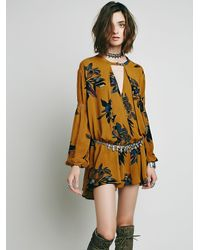 Free People | Metallic Womens Large Floral Retro Tunic | Lyst